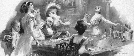 Am Spieltisch. Men and women in evening dress around a gambling table. (Yohn, Frederick Coffay, *1875, † 1933. LC-USZ62-61638